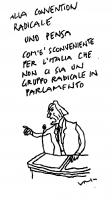 """VIGNETTA Pannella parla alla tribuna della Convention radicale. Didascalia: """"Alla convention radicale uno pensa com'è sconveniente per l'Italia che no"""