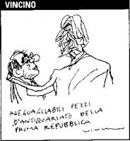 """Vignetta Marco Pannella e Giuliano Amato. Didascalia: """"Ineguagliabili pezzi d'antiquariato della prima Repubblica"""". Vignetta di Vincino, pubblicata su"""