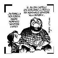 """VIGNETTA La figlia di Bobo: """"...Ma Pannella non doveva essere nominato 'senatore a vita'?"""" Bobo: """"Sì, ma ora Castelli sta istruendo la pratica per nom"""