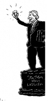 """VIGNETTA Marco Pannella su un piedistallo su cui è scritto """"Statua della libertà"""" con un bicchiere in mano. Vignetta di Vincino uscita su """"Il Foglio"""","""