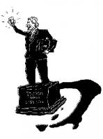 """VIGNETTA Marco Pannella su un piedistallo su cui è scritto """"Statua della libertà"""", con un bicchiere in mano. (Di lato al piedistallo, una sagoma dell'"""