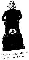 """VIGNETTA Marco Pannella """"sodomizzato"""" da un cactus. Didascalia: """"La statua della libertà vista da dietro"""". Vignetta di Vincino, pubblicata su """"Il Fogl"""