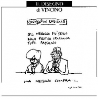 VIGNETTA Emma Bonino e Marco Pannella. Didascalia: Convention radicale. Dal negozio più serio della politica italiana, tutti passano, ma nessuno compr