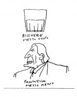 """VIGNETTA Didascalia: """"Bicchiere mezzo vuoto. Pannella mezzo pieno"""". Vignetta di Vincino per """"Il Foglio"""", uscita in occasione dello sciopero della sete"""