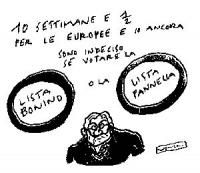 """VIGNETTA Didascalia: """"10 settimane e mezzo per le europee e io ancora sono indeciso se votare lista Bonino o la lista Pannella"""". Vignetta di Vincino p"""