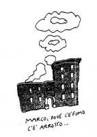 """VIGNETTA Nuvole di fumo escono dal palazzo del Quirinale. Didascalia: """"Marco, dove c'è fumo c'è arrosto"""". La vignetta di Vincino per """"Il Foglio"""", si r"""