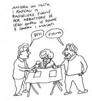 """VIGNETTA A un tavolo radicale (per la raccolta di firme per un referendum contro la legge sulla procreazione assistita) un uomo dice a Pannella: """"Bevi"""
