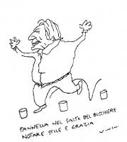 """VIGNETTA Didascalia: """"Pannella nel salto del bicchiere - notare stile e grazia"""". Vignetta di Vincino per """"Il Foglio""""."""