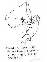 """VIGNETTA Didascalia: """"Pannella beve il suo bicchierino d'acqua e poi riprende lo sciopero"""". Vignetta di Vincino per """"Il Foglio"""":"""