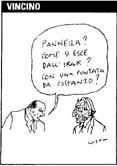 """VIGNETTA Berlusconi a Pannella: """"Pannella? Come si esce dall'Irak? Con una puntata da Costanzo?"""". Vignetta di Vincino uscita sul """"Corriere della sera"""""""