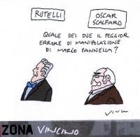 """VIGNETTA Didascalia: """"Rutelli. Oscar Scalfaro. Quale dei due il peggior errore di manipolazione di Marco Pannella?"""". Vignetta di Vincino."""