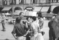 3a marcia antimilitarista Milano-Vicenza. Gruppo di marciatori. Marco Pannella, Aloisio Rendi (a destra), di spalle: Antonio Riva e Lorenzo Strick Lie