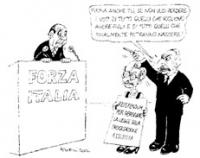 VIGNETTA Di fronte alla tribuna del congresso di Forza Italia, Emma Bonino e Marco Pannella si presentano di fronte a Berlusconi. La Bonino ha al coll