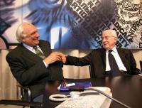 """Marco Pannella e Francesco Cossiga, in occasione della presentazione del libro di Daniele Capezzone: """"Euroghost""""."""
