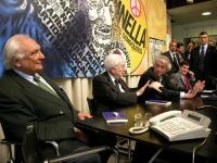 """Presentazione del libro di Daniele Capezzone """"Euroghost"""". Al tavolo, da sinistra: Marco Pannella, Francesco Cossiga, Massimo Bordin, Daniele Capezzone"""