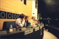 Conferenza stampa sulla proibizione di una mostra sulla canapa al Parlamento Europeo. Partecipano (da sinistra): Chris Davies (British Liberals), Gian