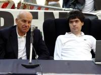 Fausto Bertinotti e Luca Coscioni, nel corso di una conferenza stampa a piazza Montecitorio, sul referendum in materia di fecondazione assistita.