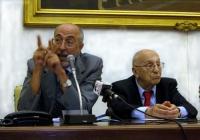 Conferenza stampa presso la sala stampa della Camera dei Deputati, sull'espulsione del Partito Radicale dall'ONU. Natale D'Amico e Sergio Stanzani.