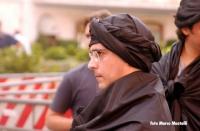 Daniele Capezzone, travestito da talebano (nel corso di una manifestazione di risposta al sostegno espresso dal ministro della Salute Sirchia alla pro