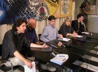 Marco Cappato, Sergio D'Elia, Daniele Capezzone, Rita Bernardini e Michele De Lucia nel corso di una conferenza stampa sulla richiesta di dimissioni d