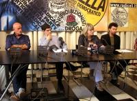 Sergio D'Elia, Daniele Capezzone, Rita Bernardini e Michele De Lucia nel corso di una conferenza stampa per la richiesta di dimissioni del ministro de