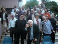 Brindisi in occasione di un Comitato dei Radicali Italiani, all'hotel Ergife. In primo fila: Marco Pannella. Seconda fila: Leopoldo Machina, Michele D