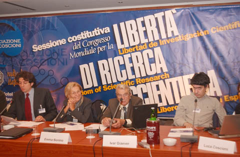 Sessione costitutiva del Congresso Mondiale per la libert di ricerca scientifica, all&#039;hotel Ergife.