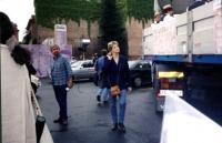 Manifestazione per la consegna delle firme sui 20 referendum alla Corte di Cassazione.  Rita Bernardini, a terra, in piedi, accanto al furgono dove su