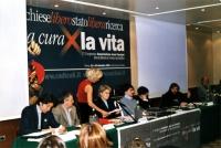 Primo Congresso dell'Associazione Luca Coscioni per la libertà di ricerca scientifica. Al tavolo di presidenza, da sinistra: Marco Cappato, Giulio Cos