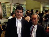 Daniele Capezzone e il militante Natale ???, alla sede di Torre Argentina.