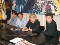 Marco Cappato, Massimiliano Iervolino, Rita Bernardini e Michele De Lucia nel corso di un incontro con i militanti.
