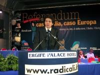 Marco Cappato alla tribuna del Terzo Congresso dei Radicali Italiani.