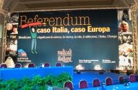"""Banner del Terzo Congresso dei Radicali Italiani: """"Referendum caso Italia, caso Europa""""."""