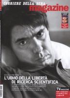"""Copertina del """"Corriere della sera magazine"""", che riporta una fotografia di Luca Coscioni. Titolo: """"L'uomo della libertà di ricerca scientifica"""":"""