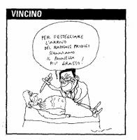 """VIGNETTA Prodi di fronte al cadavere di Pannella: """"Per festeggiare l'arrivo del radicale prodigo scanniamo il Pannella più grasso"""". Vignetta di Vincin"""