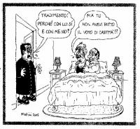 """VIGNETTA Romano Prodi sorprende Marco Pannella a letto con Silvio Berlusconi. Prodi: """"Tradimento! Perché con lui sì e con me no?"""". Pannella: """"Ma tu no"""