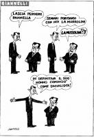 """VIGNETTA Fassino a Prodi: """"Lascia perdere Pannella. Semmai portiamo con noi la Mussolini"""". Prodi: """"La Mussolini?!!"""" Fassino: """"In definitiva il suo non"""
