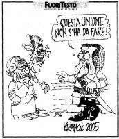 """VIGNETTA Prodi, rivolto a Pannella e a Fassino: """"Questa unione non s'ha dare!"""". Vignetta di Krancic, per il """"Giornale""""."""