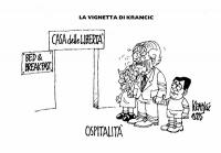 """VIGNETTA Marco Pannella, tenendo per mano Emma Bonino e Daniele Capezzone, attende in piedi davanti alla porta della Casa delle Libertà. Didascalia: """""""