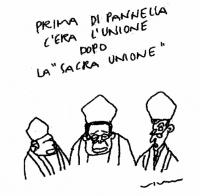 """VIGNETTA Didascalia: """"Prima di Pannella c'era l'Unione, dopo la sacra Unione"""". Vignetta di Vincino, per """"Il Foglio""""."""