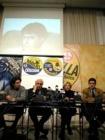 Marco Cappato, Marco Pannella, Emma Bonino e Daniele Capezzone, nel corso di una conferenza stampa sulla richiesta di ospitalità dei radicali per le e