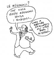 """VIGNETTA """"Le regionali?"""". Risponde Berlusconi: """"Che noia queste regionali senza i radicali...vado a dormire, svegliatemi un mese dopo i risultati"""". Vi"""