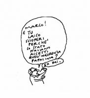"""VIGNETTA """"Marco, e tu laico scioperi perché lo stato italiano accetti quell'ingerenza papalina? Eh dai!"""". Vignetta di Vincino, per il quotidiano """"Il F"""