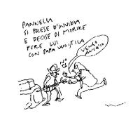 """VIGNETTA """"Pannella si prese d'invidia e decise di morire pure lui con papa Woityla"""". Pannella (a una guardia svizzera): """"Vengo anch'io"""". Vignetta di V"""