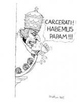 """VIGNETTA Pannella si affaccia al balcone e proclama: """"Carcerati, habemus papam!"""", e indica se stesso. Vignetta di Forattini, donata a Pannella, al ter"""
