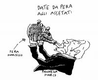 """VIGNETTA Titolo: """"Date da Pera agli assetati"""". Marco Pannella beve da un'anfora che ha le fattezze di Marcello Pera. (Riferimento a una telefonata a R"""