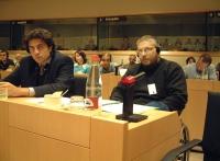 """Marco Cappato e John Fischetti seguono i lavoro del convegno: """"Le cellule staminali - per la libertà di ricerca scientifica"""", promosso dal Partito Rad"""
