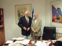 Marco Pannella, in missione per la campagna radicale per l'ingresso di Israele nell'Unione Europea, incontra l'ambasciatore Avi Pazner, presidente mon