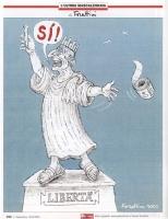 """VIGNETTA Marco Pannella, nelle vesti della Statua della Libertà, una provetta in mano, proclama: """"Sì"""", e getta via il rotolo della Legge 40. Vignetta"""