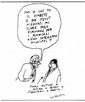 """VIGNETTA Vincino: """"Ma io che ho il diabete e due stent medicati al cuore posso firmare per i radicali nella categoria malati?"""". Caricatura di Capezzon"""